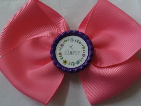 Be Yourself Bottle Cap Boutique Hair Bow HB742