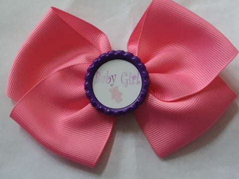 Baby Girl Bottle Cap Boutique Hair Bow HB775