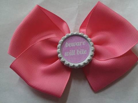 Beware Will Bite Bottle Cap Boutique Hair Bow HB777