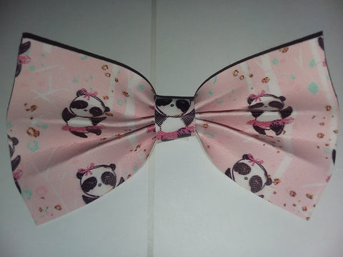 "Bear Panda synthetic leather Hair Bows Large 6.5"" - 7"""