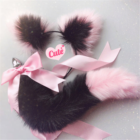 Cute Soft Cat Ears & Tail Stainless Steel Butt Anal Plug Set Pink Black