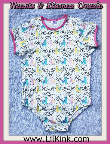 DISCONTINUED Short Sleeve Hearts & Llamas Onesie Clearance
