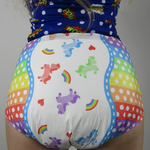 The Dotty Diaper Company Dotty Rainbow Pride ABDL Adult Diaper -1 single sample Diaper