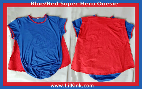 Discontinued item Super Hero Onesies Blue & Red xs-4x