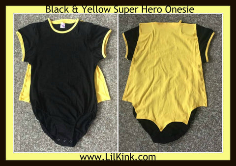 DISCONTINUED Super Hero Onesies Black & Yellow Clearance xs only