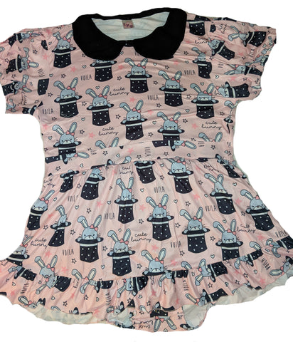 DISCONTINUED MAGIC BUNNY WITH PETER PAN STYLE COLLAR Romper Dress Clearance xxs - xs - s only