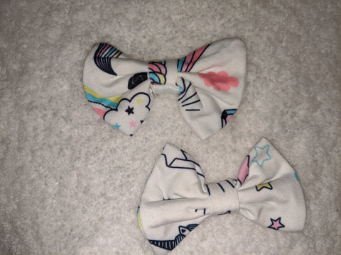 MAGICAL UNICORN Matching Boutique Fabric Hair Bow 2pc Set Clearance