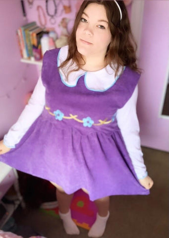 CORDUROY Purple Floral Jumper Matching Dress