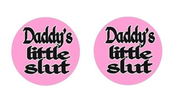 Daddy's Little Slut BDSM ABDL Lifestyle Cabochon Stud Earrings LSE325