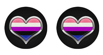 Nonbinary Heart Adult BDSM ABDL Lifestyle Cabochon Stud Earrings LSE369