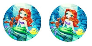 Princess Mermaid Cabochon Stud Earrings LSE520