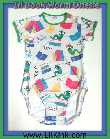 Short Sleeve Lil Book Worm Onesie Sizes xs-4x * New Size Chart *