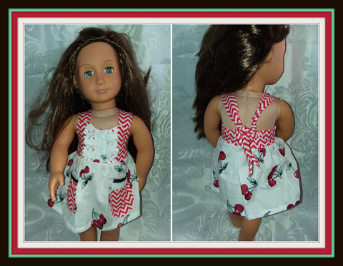 Cherry Romper Dress with pockets Doll Matching Outfit Dress MDO108