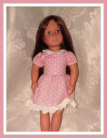 Pink & White Polka-dot BabyDoll Doll Matching Outfit Dress MDO109