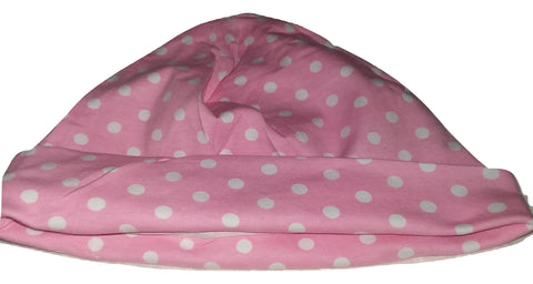 Pink & White Polka-dots Matching Adult Newborn Baby Hat Cap NB107