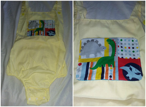 Yellow Dinosaur Adult Romper in size Small OAS168