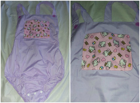 Purple Kitty Adult Romper in size Large OAS172