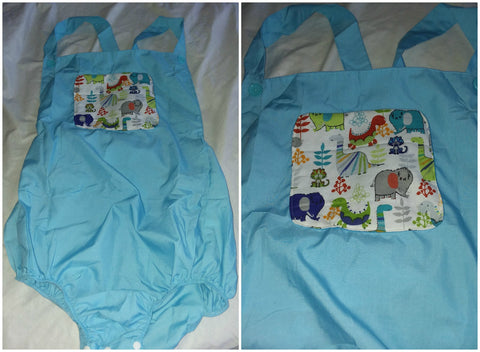 Blue Dinosaur Adult Romper in size Large OAS176