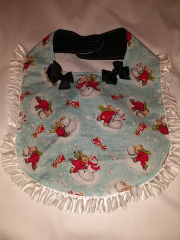PRINCESS LACE BIB Holiday Christmas Snowman & Bear PB181