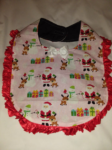 PRINCESS LACE BIB Holiday Christmas Reindeer Santa PB184