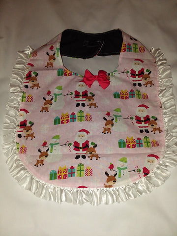 PRINCESS LACE BIB Holiday Christmas Reindeer Santa PB185