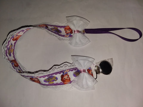 Princess S Lace DELUXE CUSTOM PACIFIERS CLIPS PLPC124