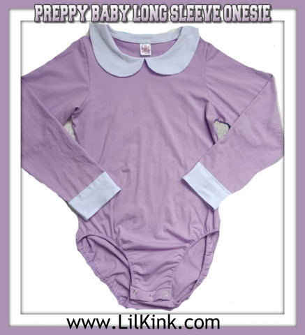 DISCONTINUED Long Sleeve Preppy Baby Onesies w/Peter Pan Style Collar Clearance