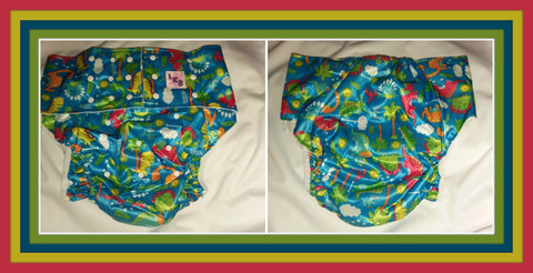 Blue Dinosaur Adult Pocket Diaper #PSCD30
