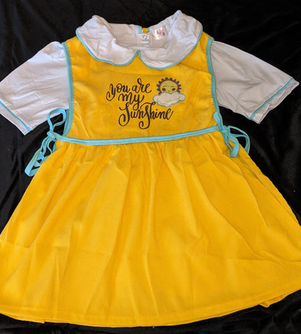 CORDUROY Yellow Sunshine Apron Style Jumper Matching Dress