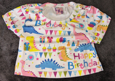 Pink Happy Birthday Dinosaur Stuffy Matching Shirt