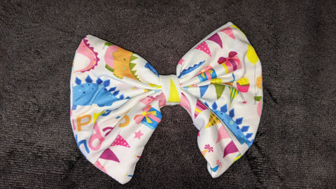 Pink Happy Birthday Dinosaur Matching Hair Bows