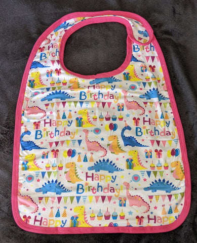 Pink Happy Birthday Dinosaur Matching Bib