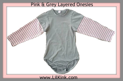 Pink & Grey Layered Long Sleeve Onesies xs-4x