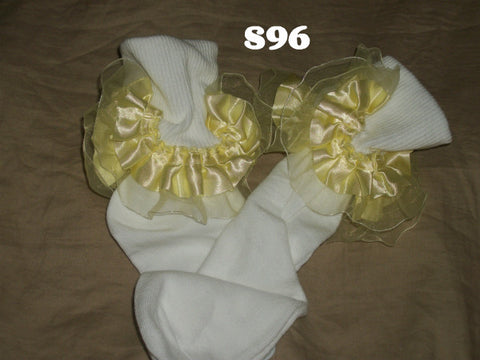 Ruffle SATIN YELLOW Socks S96