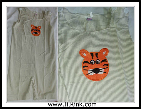 Romper DISCONTINUED Seersucker Adult Romper Tan Tiger Shortalls Clearance xxs only