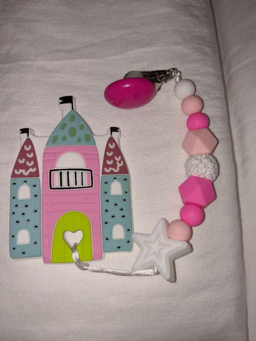SILICONE TEETHER CHEWING TOY PACIFIER CLIP Princess Castle TC1008