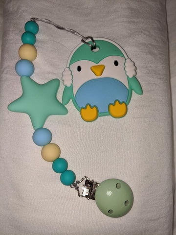 SILICONE TEETHER CHEWING TOY PACIFIER CLIP Penguin TC1017