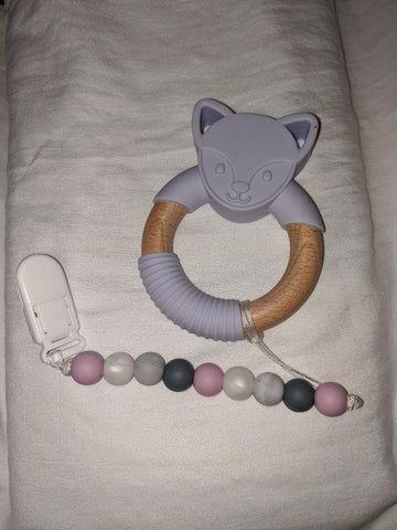 SILICONE TEETHER CHEWING TOY PACIFIER CLIP Wolf TC1021