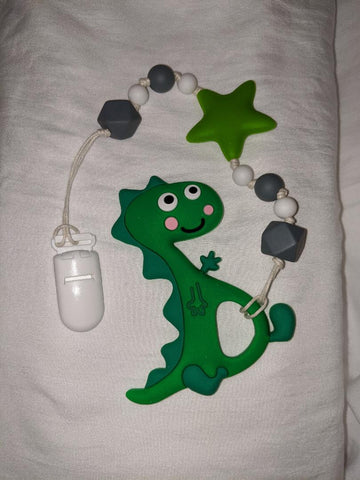 SILICONE TEETHER CHEWING TOY PACIFIER CLIP Dinosaur Dragon TC1023