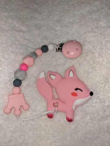 SILICONE TEETHER CHEWING TOY PACIFIER CLIP Fox TC1065