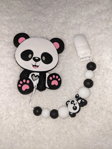 SILICONE TEETHER CHEWING TOY PACIFIER CLIP PANDA BEAR TC1073