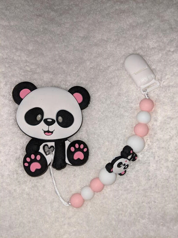 SILICONE TEETHER CHEWING TOY PACIFIER CLIP BEAR TC1075
