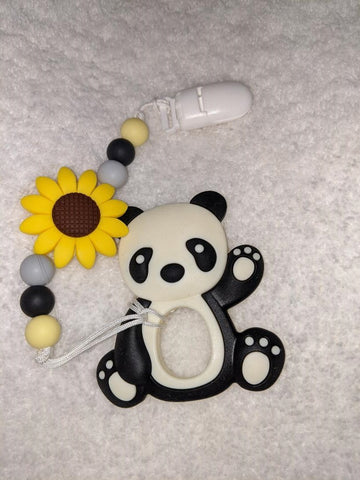 SILICONE TEETHER CHEWING TOY PACIFIER CLIP PANDA BEAR TC1078