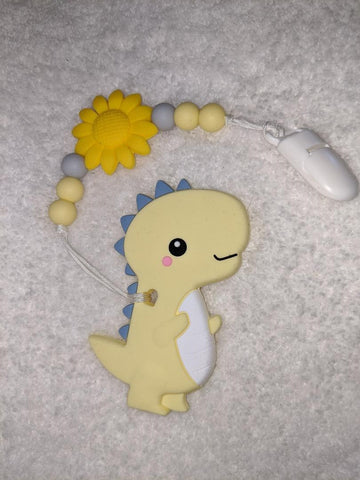 SILICONE TEETHER CHEWING TOY PACIFIER CLIP Dinosaur TC1080