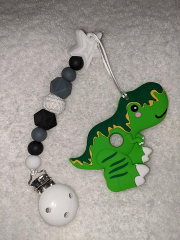 SILICONE TEETHER CHEWING TOY PACIFIER CLIP Dinosaur TC1085