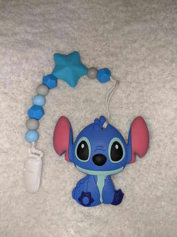 SILICONE TEETHER CHEWING TOY PACIFIER CLIP Alien TC1126