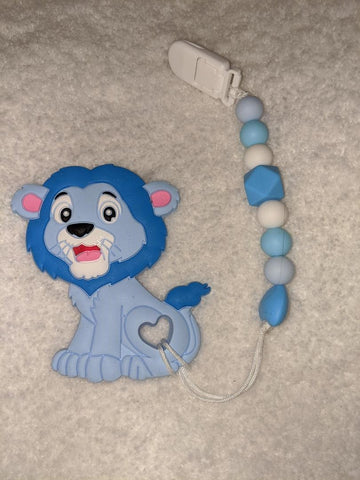 SILICONE TEETHER CHEWING TOY PACIFIER CLIP Lion TC1129