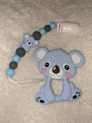 SILICONE TEETHER CHEWING TOY PACIFIER CLIP BEAR KOALA TC1135