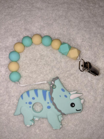 SILICONE TEETHER CHEWING TOY PACIFIER CLIP Dinosaur TC1155