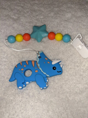 SILICONE TEETHER CHEWING TOY PACIFIER CLIP Dinosaur TC1162